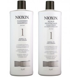 Nioxin 1000ml/1L System 1 Shampoo & Conditioner Set
